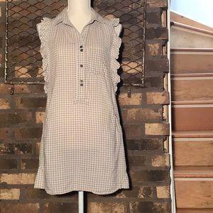 Quicksilver mini dress gray/off white checks S